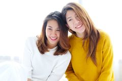 LGBT, Young cute asian women lesbian couple happy moment, homosexual, lesbian couple lifestyle royalty free stock photos