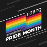 LGBTQ爱庆祝与彩虹挥动锋利的角落和文本在黑暗的背景传染媒介设计的旗子条纹的自豪感月 向量例证