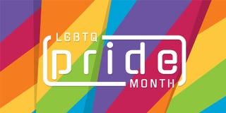 LGBTQ自豪感与印刷术文本的月横幅在摘要现代锋利的五颜六色的彩虹背景传染媒介设计 库存例证