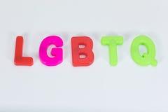 LGBTQ abecadła listy i biel kopii przestrzeń zdjęcia stock