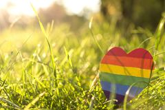 LGBTQ concept, for lesbian, gay, bisexual, transgender. Paper heart painted in rainbow paint LGBT in the grass on the background of the sun`s rays. LGBTQ concept royalty free stock photo