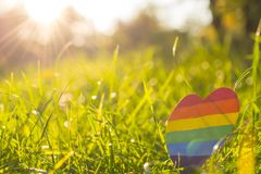 LGBTQ concept. Paper heart painted in rainbow paint LGBT in the grass on the background of the sun rays. LGBTQ concept, for lesbian, gay, bisexual, transgender stock photography