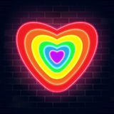 Lgbtq neon color heart shape design. Lgbtq color heart shape design, vector illustration.Gay,lesbian,bisexual,homosexual,transsexual human concept. Rainbow neon royalty free illustration