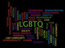LGBTQ-ordmoln på en svart bakgrund Arkivfoto