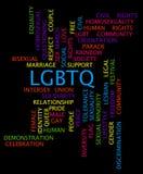 LGBTQ-ordmoln på en svart bakgrund Royaltyfria Foton