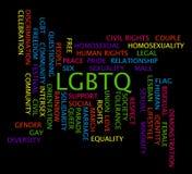 LGBTQ-ordmoln på en svart bakgrund Arkivfoton