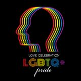 LGBTQ pride banner with abstract rainbow line head human sign on black background vector design vector illustration