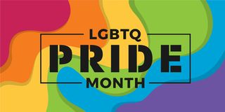 LGBTQ Pride month banner with typography text on abstract modern curve colorful rainbow background vector design stock photo