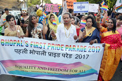 LGBTQlesbian, gay, bisexuals, transgenders. & Queer community  organized a carnival of pride in the state capital on Wednesday. Few youngsters, who support the Royalty Free Stock Photo