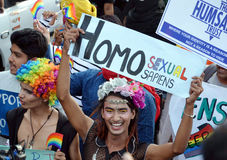 LGBTQlesbian, gay, bisexuals, transgenders. & Queer community  organized a carnival of pride in the state capital on Wednesday. Few youngsters, who support the Stock Images