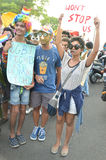 LGBTQlesbian, gay, bisexuals, transgenders. & Queer community  organized a carnival of pride in the state capital on Wednesday. Few youngsters, who support the Royalty Free Stock Photography