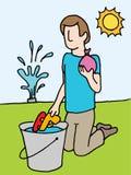 Läggande tillbaka vattenvapen och ballong Arkivbild