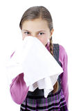 Lgirl treat a runny nose Royalty Free Stock Photo