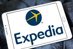 Expedia logo. Lgoo of Expedia on samsung tablet. Expedia.com is a travel website owned by Expedia Inc. The website can be used to book airline tickets, hotel Royalty Free Stock Photography