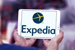 Expedia logo. Lgoo of Expedia on samsung tablet . Expedia.com is a travel website owned by Expedia Inc. The website can be used to book airline tickets, hotel Stock Photo
