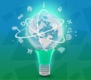 Lägre del av lampan med planeten upptill och Arkivbild