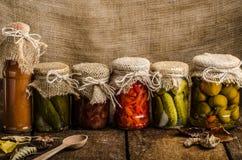 Légumes cuits, conserves au vinaigre, ketchup fait maison Photos libres de droits