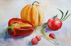 Légumes d'aquarelle Images stock