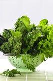 Légumes feuillus vert-foncé dans la passoire Image libre de droits