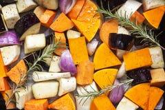 Légumes prêts pour rôtir la vue supérieure Images libres de droits