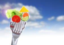 Légumes sur des fourchettes. Images libres de droits