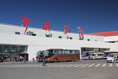 Lhasa airport,Tibet. The entrance in the airport of Lhasa. Lhasa is a city and administrative capital of the Tibet Autonomous Region of the People's Republic of Stock Images