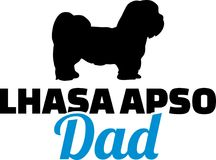Lhasa Apso dad silhouette. With blue word Royalty Free Stock Photos