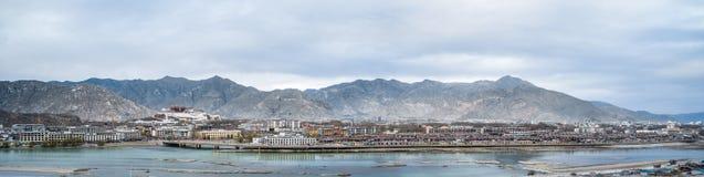 Lhasa city panorama. A panoramic view of the lhasa city at dusk, tibet, China Royalty Free Stock Photos
