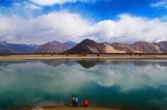 Lhasa River in Tibet. Lhasa River in the spring is the dry season in Tibet, it is very beautiful in the blue sky reflection in the water Stock Photo