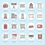 Ölheizung, Kamin, Konvektor, Plattenspaltenheizkörper und andere Hausheizungsanlagen zeichnen Ikonen Dünn sich Hauptwärmen Stockfoto