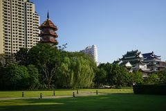 Lhong 1919年,中国人寺庙和塔 免版税库存照片
