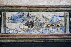 Lhong 1919, 100 años de pintura mural en la pared Foto de archivo