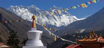Lhotse dal monastero di Tengboche Fotografia Stock Libera da Diritti
