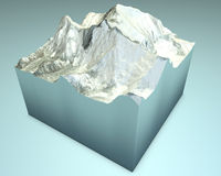 Lhotse and Everest, 3d Satellite View Royalty Free Stock Photos