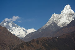 Lhotse View. View of Lhotse and Ama Dablam from Namche Bazar royalty free stock photo