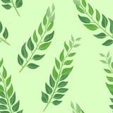 Liście na zielonym tle botaniczny deseniowy bezszwowy royalty ilustracja