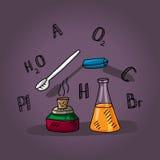 Lição da química, bulbo, tocha, elementos, tabela periódica Foto de Stock Royalty Free