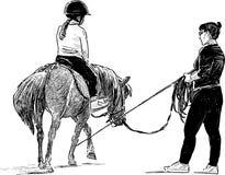 Lição de equitação Fotografia de Stock