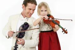 Lição de violino Fotos de Stock Royalty Free