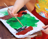 Lição do desenho em uma escola primária Fotos de Stock