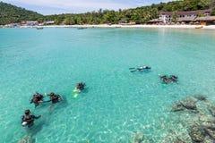 Lição do mergulho autônomo Foto de Stock