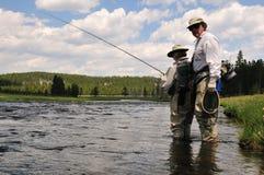 Lição Flyfishing Fotografia de Stock