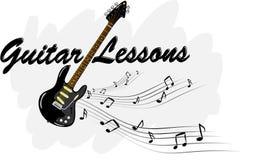 Lições da guitarra - guitarra elétrica com notas da música Fotos de Stock