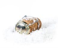 Liège de Champagne dans la neige Image stock