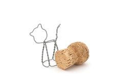 Liège de vin mousseux avec la cage en métal Image libre de droits