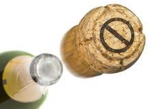 Liège lancé de champagne avec la forme d'un bureau interdit de symbole Photo libre de droits