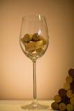Lièges en verre de vin Images libres de droits
