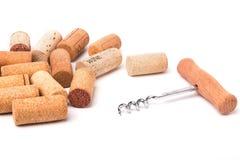Lièges et tire-bouchon de vin Image libre de droits