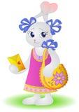 Lièvre-fille avec un sac et une enveloppe Image libre de droits