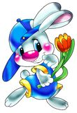 Lièvres avec une fleur. Image libre de droits